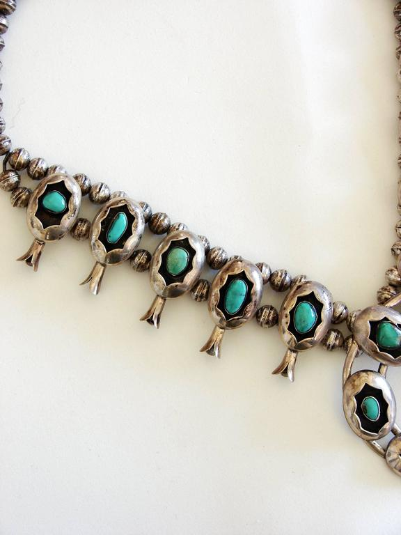 Shadowbox Squash Blossom Sterling Silver And Turquoise Navajo Necklace, 1970s  For Sale 4