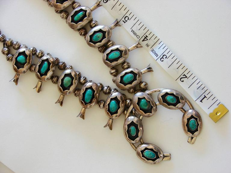 Squash Blossom Necklace Shadowbox Sterling Silver And Turquoise Navajo 1970s  For Sale 1