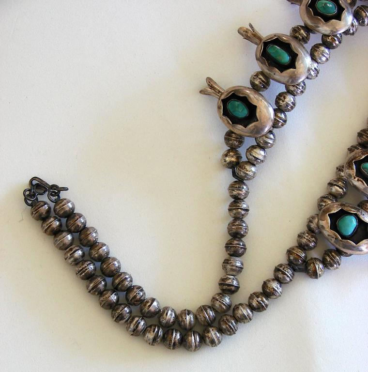 Shadowbox Squash Blossom Sterling Silver And Turquoise Navajo Necklace, 1970s  For Sale 3