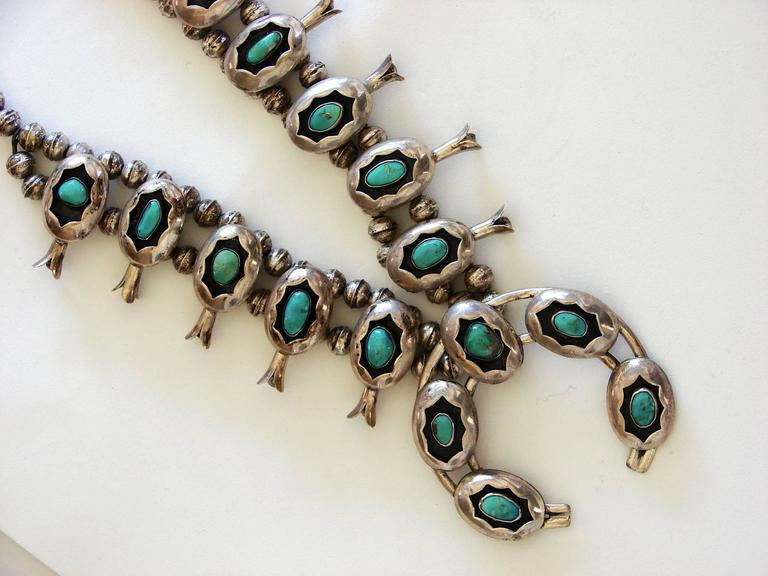 Shadowbox Squash Blossom Sterling Silver And Turquoise Navajo Necklace, 1970s  In Good Condition For Sale In Port Saint Lucie, FL