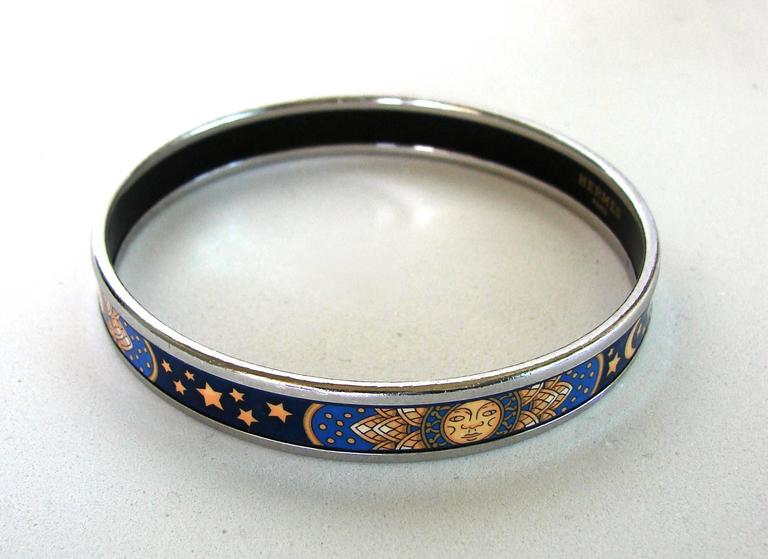Hermes Sun Moon Stars Printed Enamel + Silver Bracelet Narrow Bangle sz 70 2007  For Sale 1