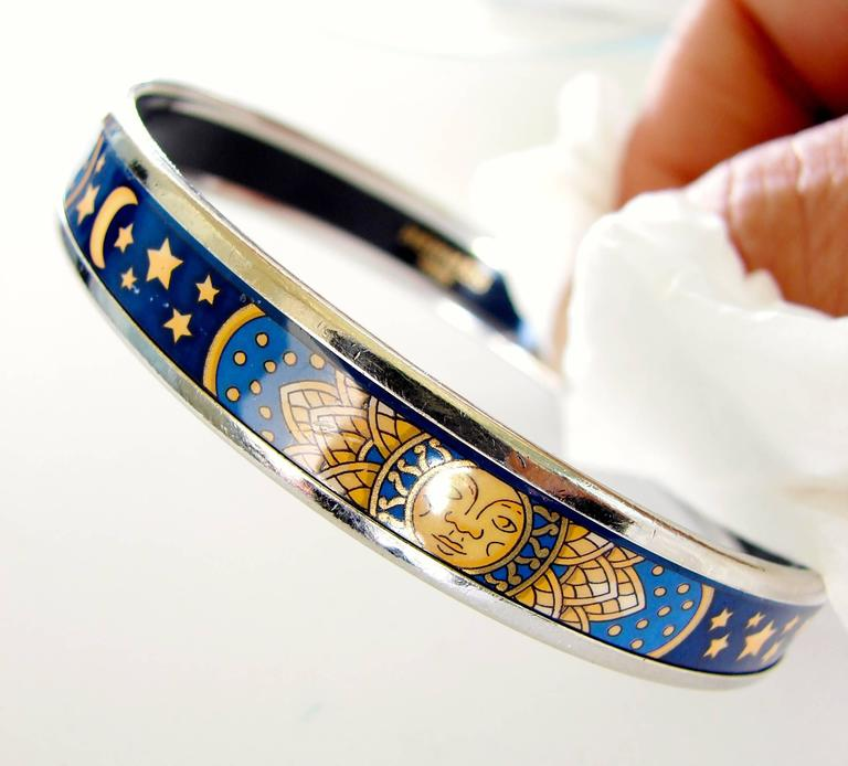 Hermes Sun Moon Stars Printed Enamel + Silver Bracelet Narrow Bangle sz 70 2007  For Sale 3