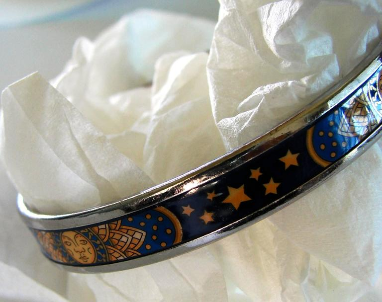 Hermes Sun Moon Stars Printed Enamel + Silver Bracelet Narrow Bangle sz 70 2007  For Sale 2