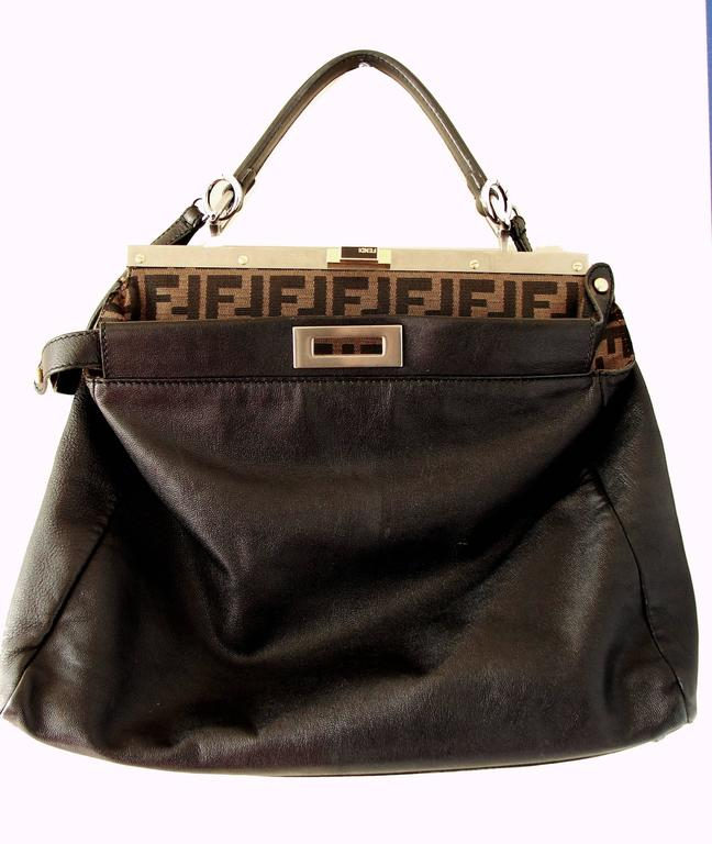 Iconic Fendi Large Black Leather Peekaboo Bag Tote Satchel with Zucca  Lining In Excellent Condition For a8380f929a