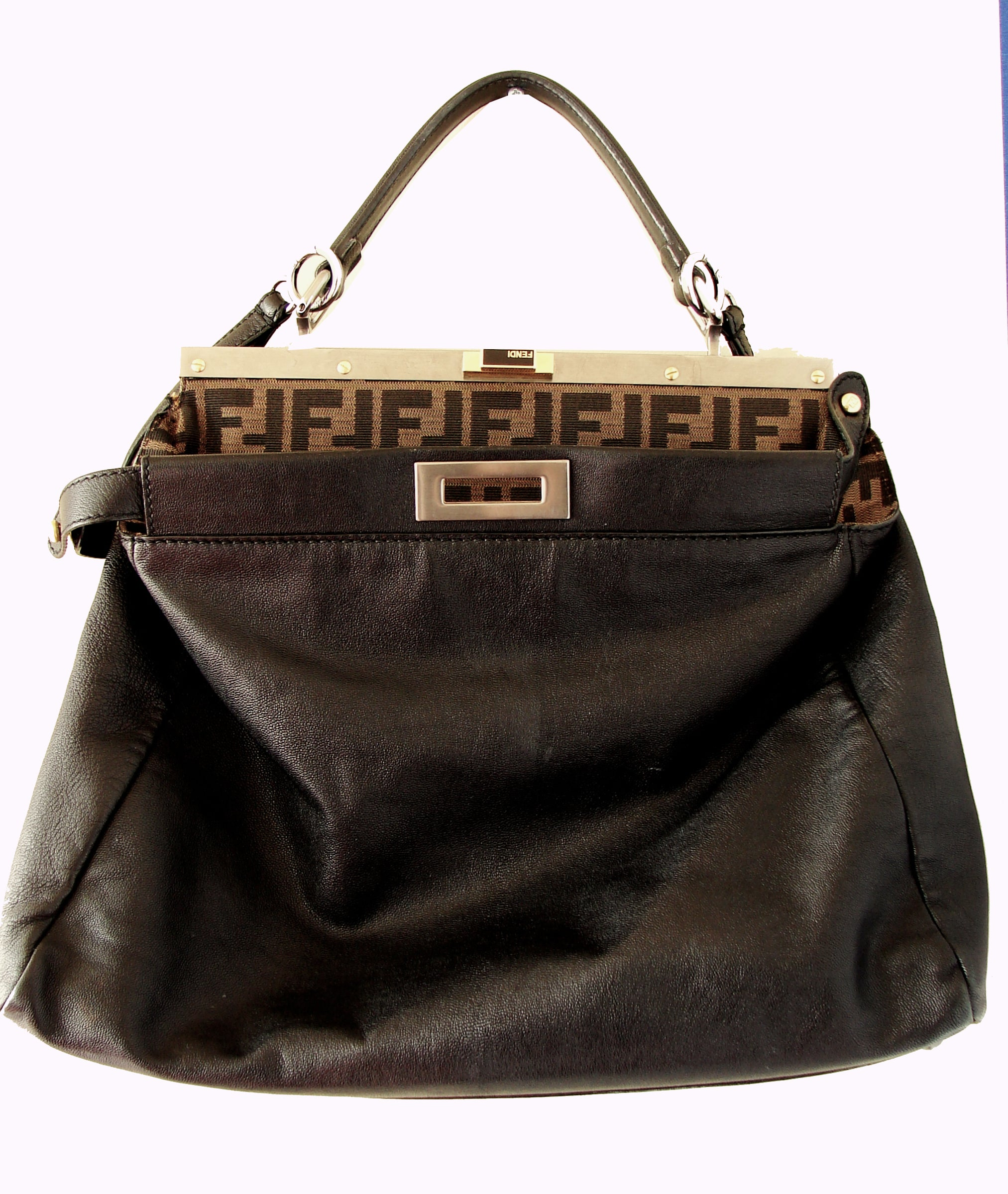97a1ead286 Iconic Fendi Large Black Leather Peekaboo Bag Tote Satchel with Zucca Lining  at 1stdibs