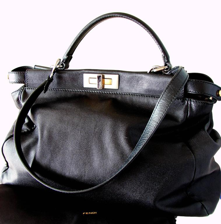 Women's Iconic Fendi Large Black Leather Peekaboo Bag Tote Satchel with Zucca Lining