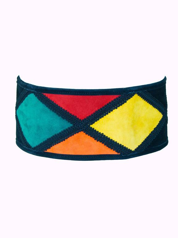 Black Moschino Wide Belt Colorful Harlequin Patch 4.5
