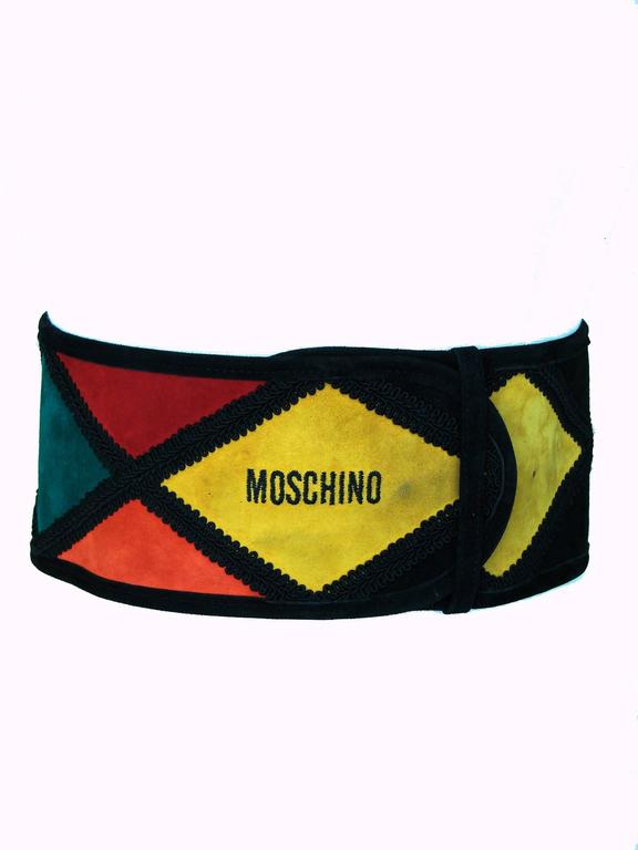 An incredible wide suede leather belt from Moschino by Redwall Italy from the 1980s.  In excellent condition, with some minor rubs here and there on the suede.  Measures 4.5