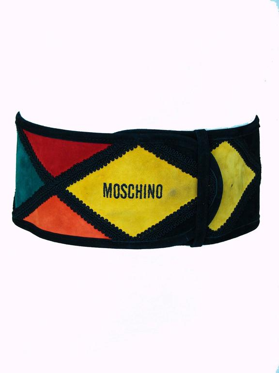 Moschino Wide Belt Colorful Harlequin Patch 4.5