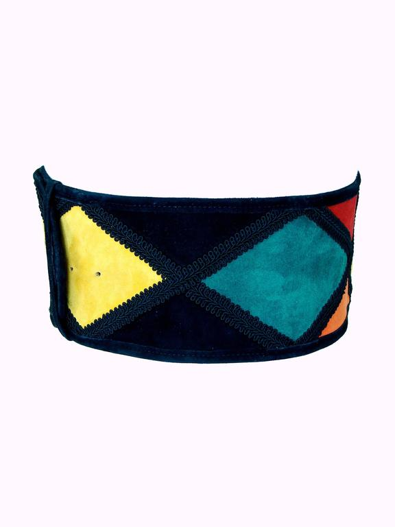 Women's Moschino Wide Belt Colorful Harlequin Patch 4.5