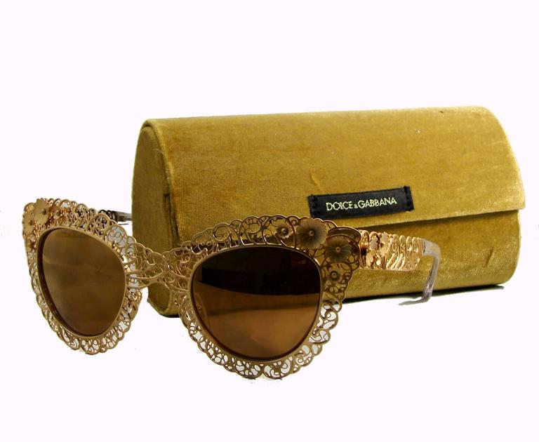 Dolce Gabbana Sunglasses Case  dolce and gabbana dimensional gold metal fl sunglasses case