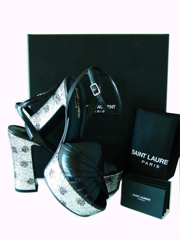 Black Saint Laurent Candy Platform Glitter Sandals New + Box Hedi Slimane Sz 39 For Sale
