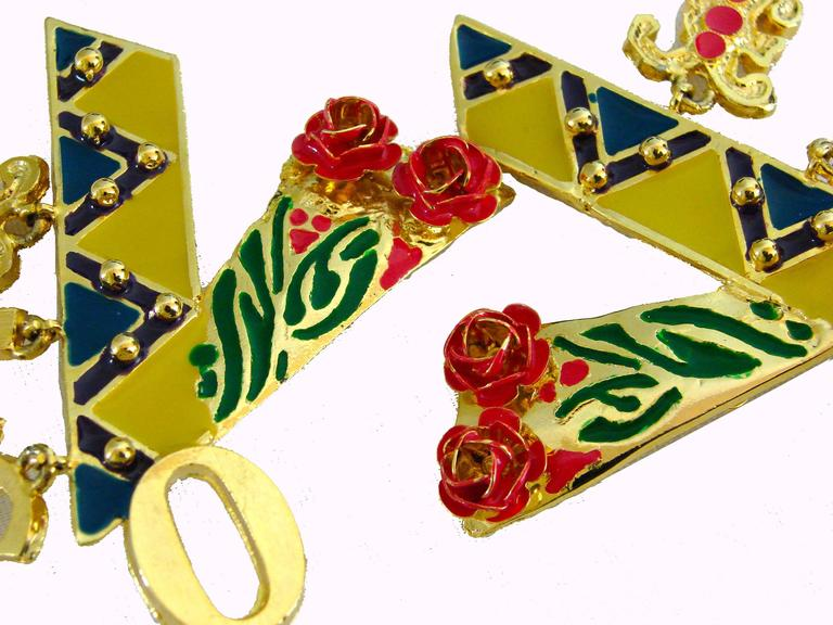 Original Gianni Versace Large Vogue Cover Earrings Enamel with Roses 1990s + Box In Good Condition For Sale In Port Saint Lucie, FL