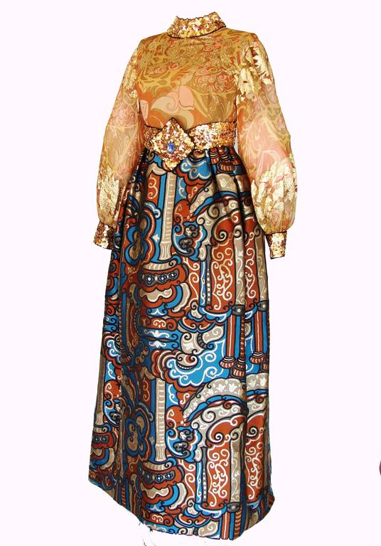 Exquisite Burke Amey Evening Gown Gold Silk + Bold Brocade Tapestry + Belt 70s S 2
