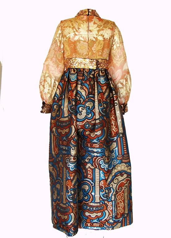 Exquisite Burke Amey Evening Gown Gold Silk + Bold Brocade Tapestry + Belt 70s S 3