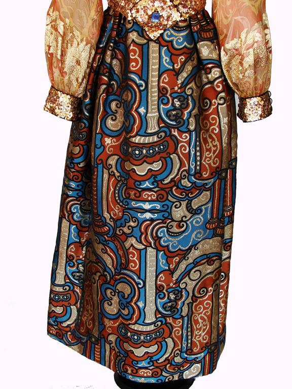 Exquisite Burke Amey Evening Gown Gold Silk + Bold Brocade Tapestry + Belt 70s S 8