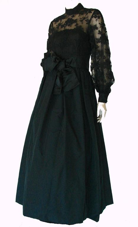 Ronald Amey Evening Gown Black Lace and Silk Taffeta Sz M 1970s  For Sale 1