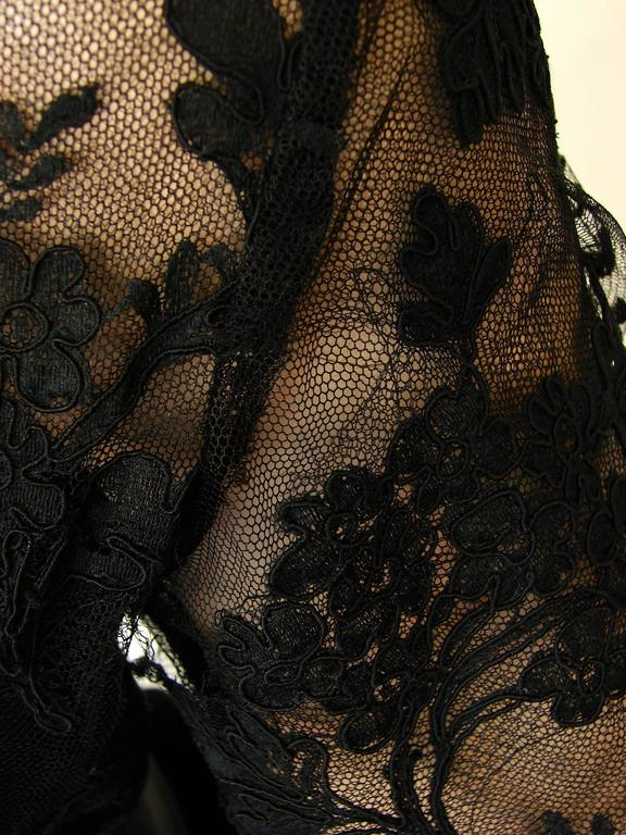 Ronald Amey Evening Gown Black Lace and Silk Taffeta Sz M 1970s  For Sale 6
