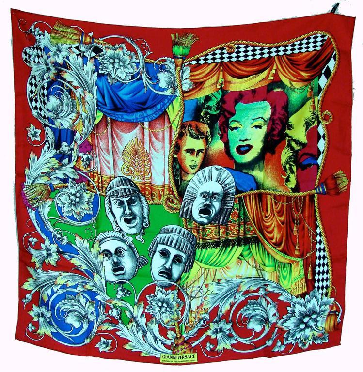Versace Silk Scarf 35in Pop Art Fondazione Antonio Ratti Marilyn Monroe Rare For Sale 4