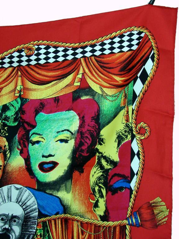 Beige Versace Silk Scarf 35in Pop Art Fondazione Antonio Ratti Marilyn Monroe Rare For Sale