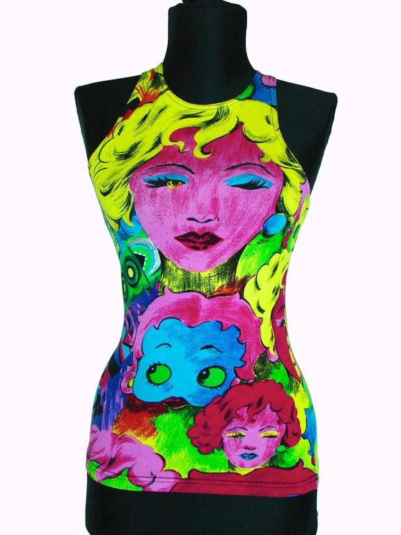 Original Versace Jeans Couture Pop Art Tank Top Betty Boop Marlene Dietrich XS 2