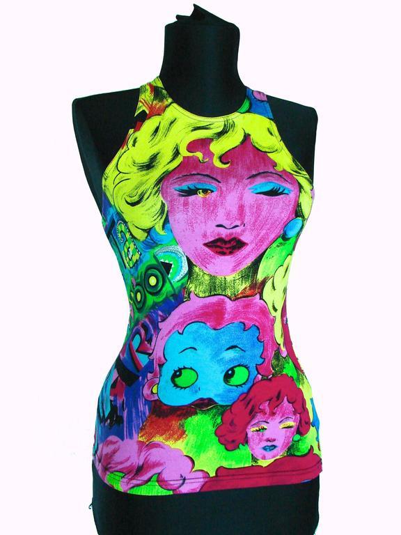 Original Versace Jeans Couture Pop Art Tank Top Betty Boop Marlene Dietrich XS 4