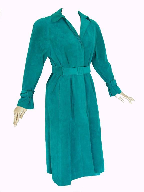 Vibrant Lilli Ann Turquoise Ultrasuede Belted Trench Coat Size M  2