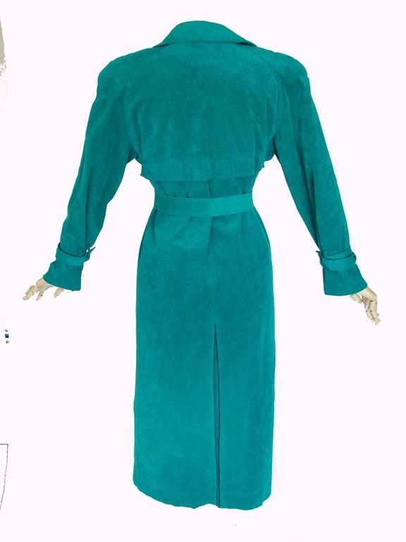 Vibrant Lilli Ann Turquoise Ultrasuede Belted Trench Coat Size M  4
