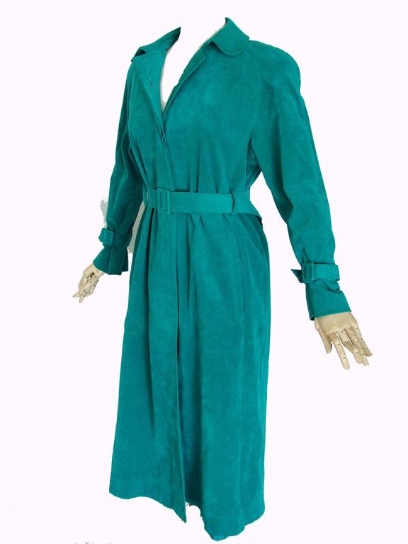 Vibrant Lilli Ann Turquoise Ultrasuede Belted Trench Coat Size M  5