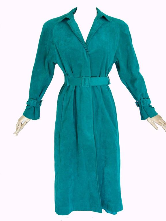 Vibrant Lilli Ann Turquoise Ultrasuede Belted Trench Coat Size M  6