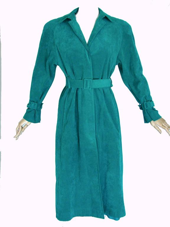 Vibrant Lilli Ann Turquoise Ultrasuede Belted Trench Coat Size M  3