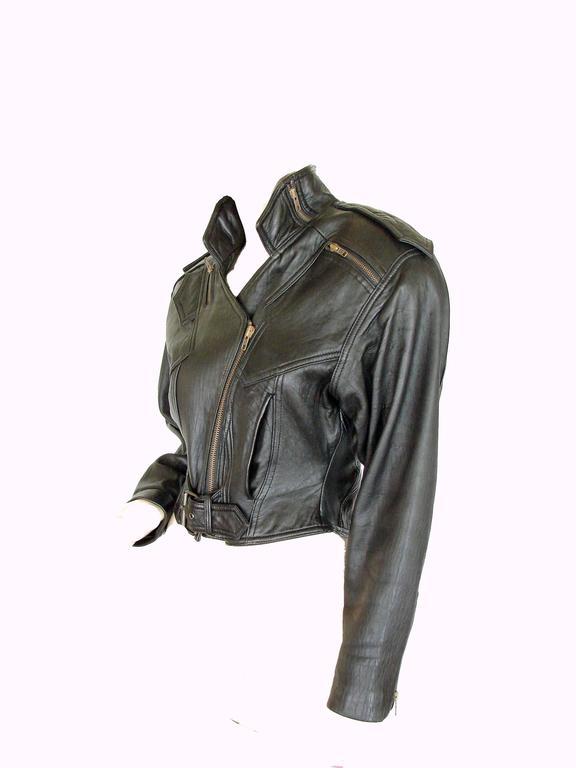 LA Roxx Black Leather Motorcycle Jacket with Zippers Cropped Moto Sz S 2