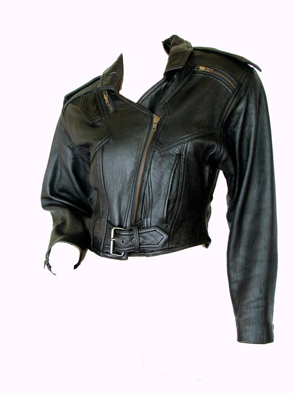 LA Roxx Black Leather Motorcycle Jacket with Zippers Cropped Moto Sz S 3