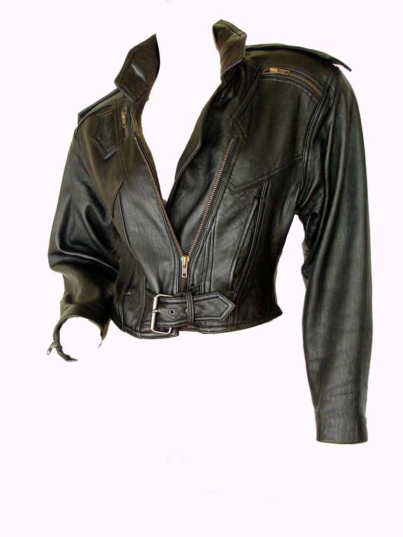 LA Roxx Black Leather Motorcycle Jacket with Zippers Cropped Moto Sz S 4