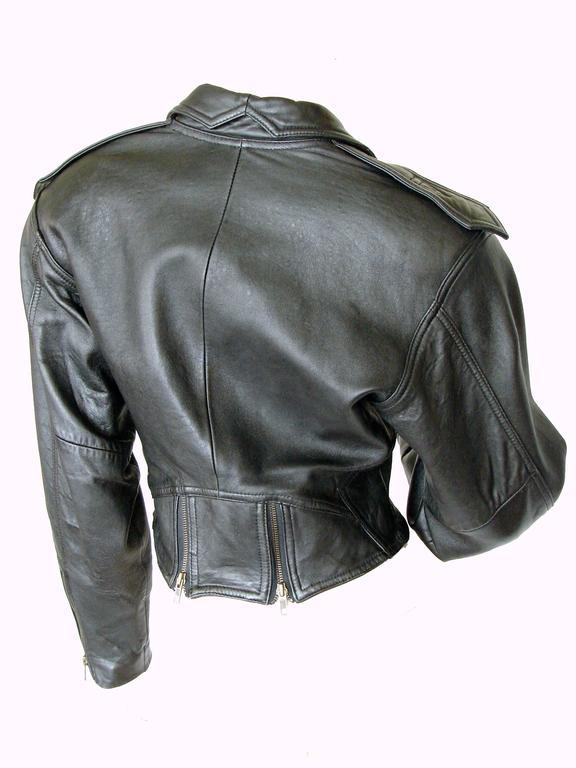 LA Roxx Black Leather Motorcycle Jacket with Zippers Cropped Moto Sz S 6