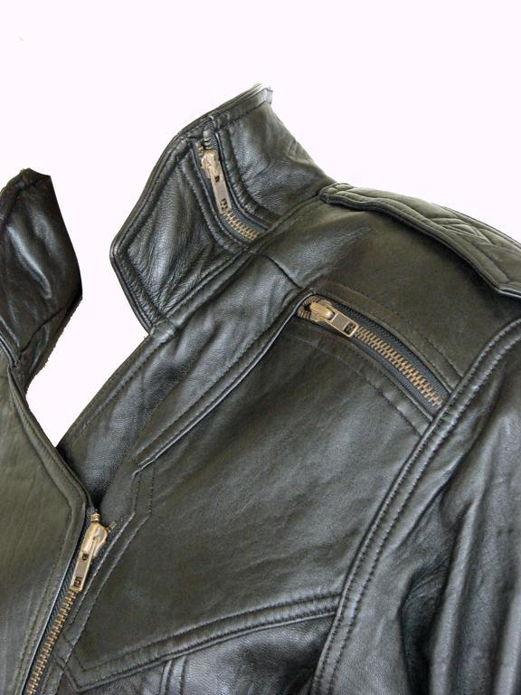 LA Roxx Black Leather Motorcycle Jacket with Zippers Cropped Moto Sz S 8