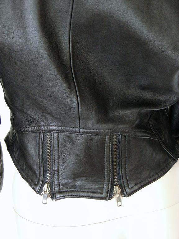 LA Roxx Black Leather Motorcycle Jacket with Zippers Cropped Moto Sz S 9