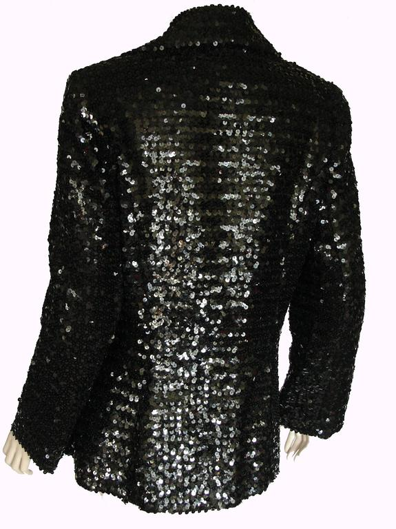 Shimmering Black Sequins Blazer Jacket by Jack Hartley Miami 1970s Size M In Excellent Condition For Sale In Port Saint Lucie, FL