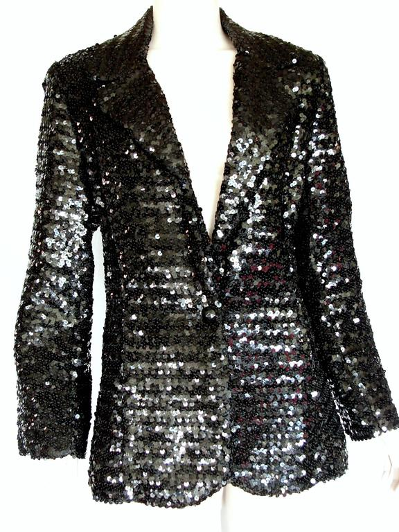 Shimmering Black Sequins Blazer Jacket by Jack Hartley Miami 1970s Size M For Sale 2