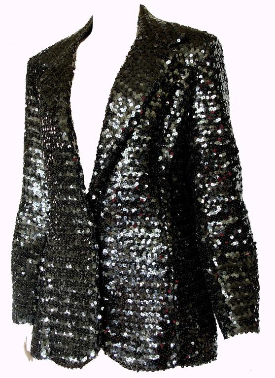Women's Shimmering Black Sequins Blazer Jacket by Jack Hartley Miami 1970s Size M For Sale