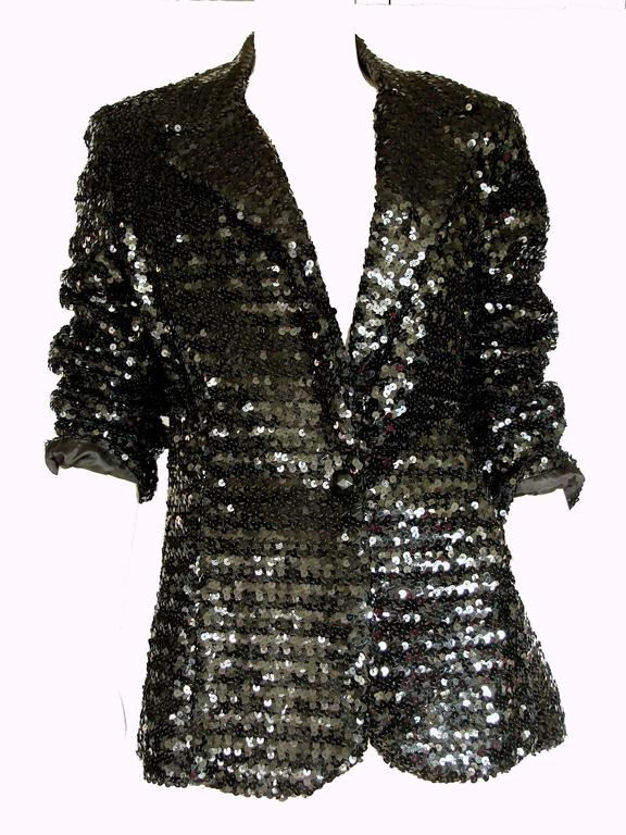 Shimmering Black Sequins Blazer Jacket by Jack Hartley Miami 1970s Size M For Sale 1