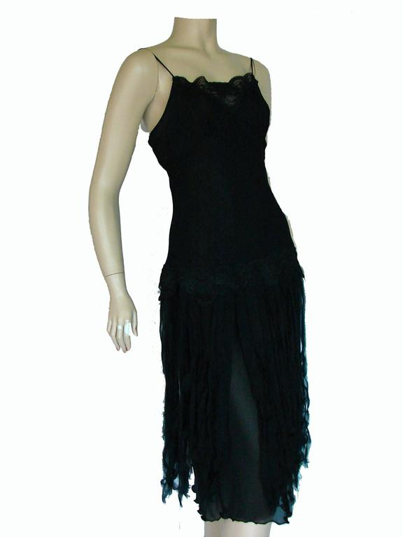 Women's Betsey Johnson Black Silk Slip Dress with Car Wash Skirt Size 6 1990s