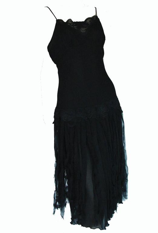 Betsey Johnson Black Silk Slip Dress with Car Wash Skirt Size 6 1990s 1