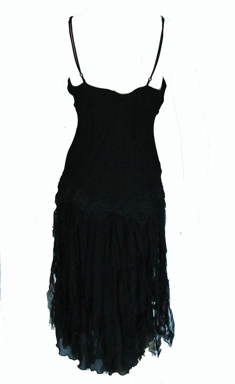 Betsey Johnson Black Silk Slip Dress with Car Wash Skirt Size 6 1990s 2