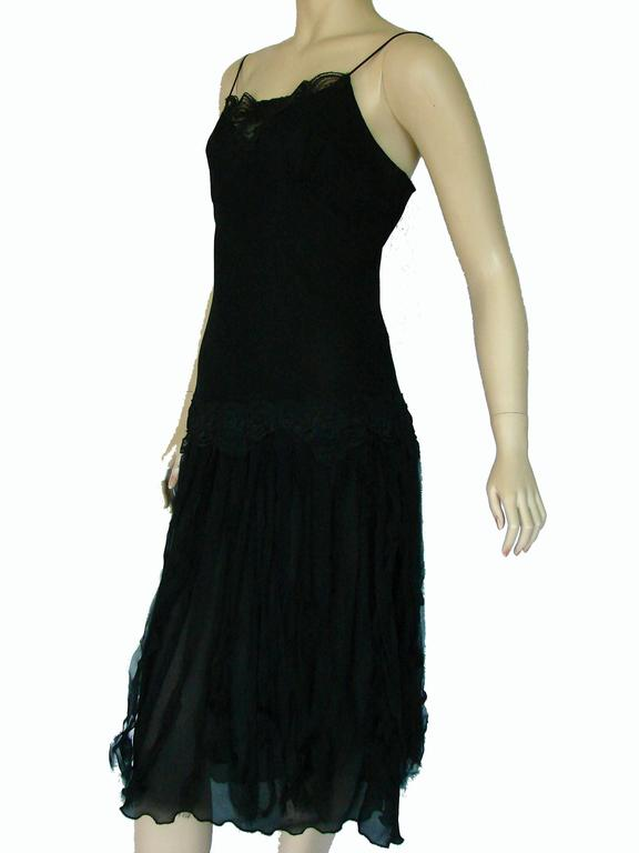 Betsey Johnson Black Silk Slip Dress with Car Wash Skirt Size 6 1990s In Good Condition In Port Saint Lucie, FL