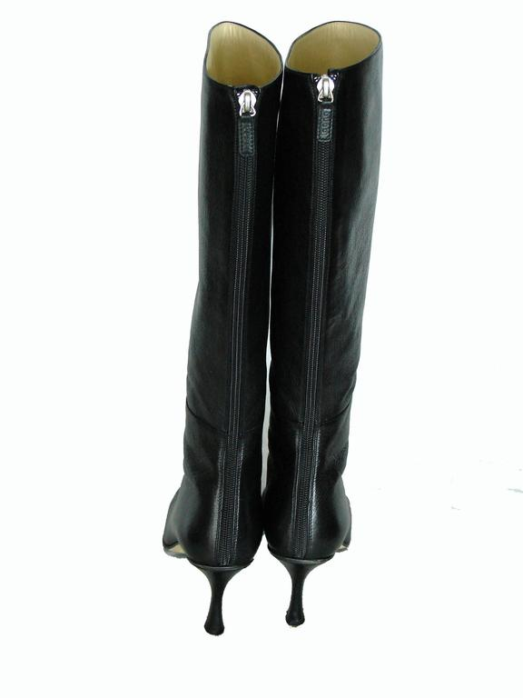 Gucci Black Kidskin Leather Knee High Boots Gomma Bali sz7.5 + Box + Dust Cover 6