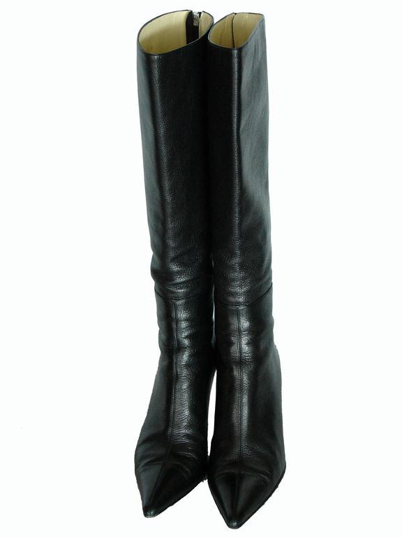 Gucci Black Kidskin Leather Knee High Boots Gomma Bali sz7.5 + Box + Dust Cover 4
