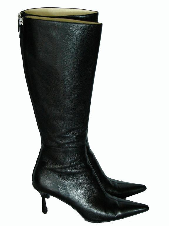 Gucci Black Kidskin Leather Knee High Boots Gomma Bali sz7.5 + Box + Dust Cover 2