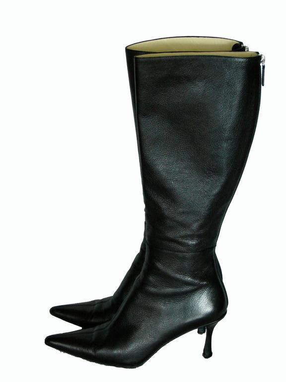 Gucci Black Kidskin Leather Knee High Boots Gomma Bali sz7.5 + Box + Dust Cover 3