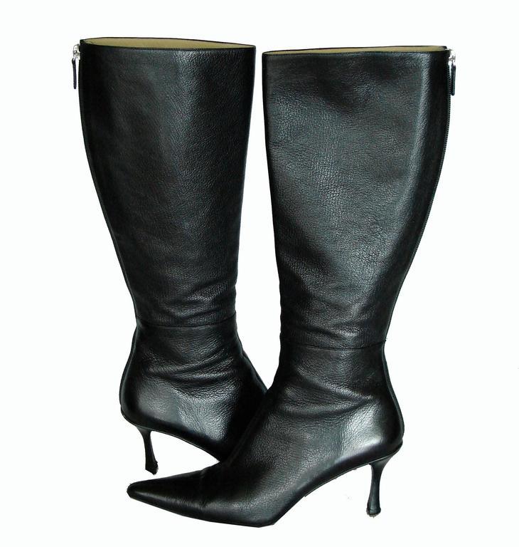 Gucci Black Kidskin Leather Knee High Boots Gomma Bali sz7.5 + Box + Dust Cover 5